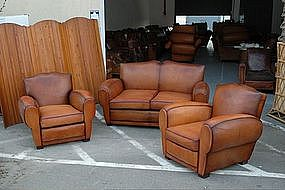 French Club Chairs and Couch Cognac Moustache Salon Set