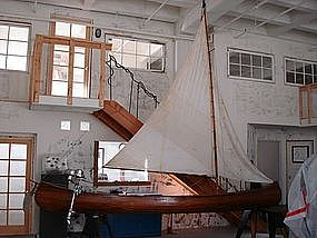 Vintage French Wooden Sailing Canoe w/ Outboard Motor
