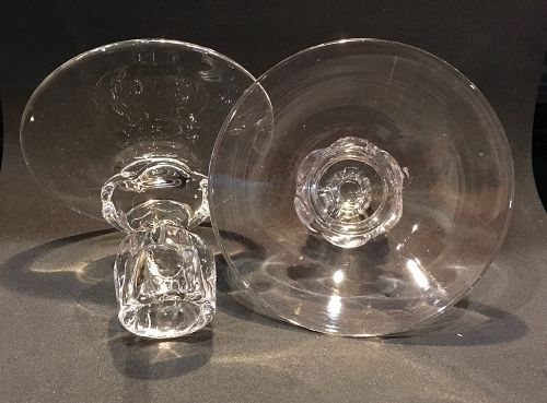 1 Pair of Duncan & Miller Glass Candle Holders CANTERBURY  1938 - 1955