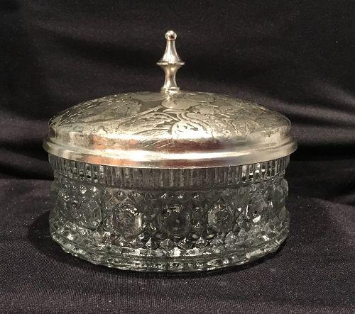 Victorian Federal Glass Windsor Pattern Powder Jar and Metal Lid