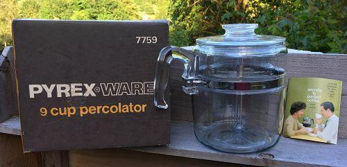 Glass Pyrex Flameware Coffee 6- 9 Cup Percolator 7759 B