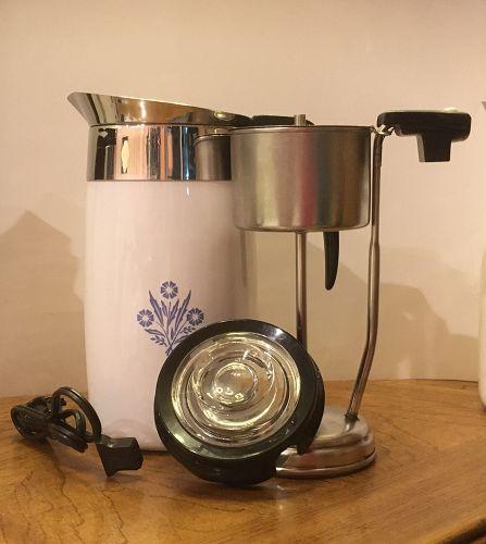 Vintage Blue Cornflower Corning Ware Coffe Pot Percolator 10 C P-80-EP