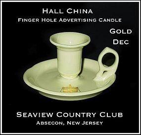 Hall China Advertising Finger Hole Candle