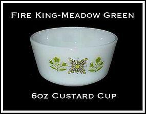 Fire King Meadow Green 6 oz Custard Cup