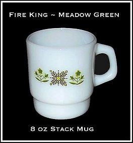 Fire King Meadow Green 8 oz Stack Mug