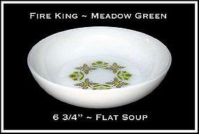 "Fire King Meadow Green 6 5/8"" Flat Soup Bowl"