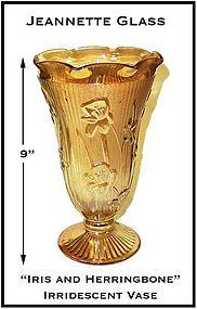 """Iris and Herringbone Iridescent 9"""" Tall Vase"""