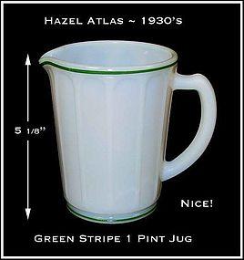 Hazel Atlas Green Stripe Decorated 1 Pint Pitcher