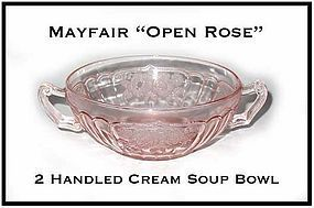 """Hocking Mayfair Pink """"Open Rose"""" 5 Inch Cream Soup Bowl"""