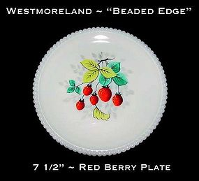 "Westmoreland Beaded Edge ""Red Berry"" 7 1/2"" Plate"