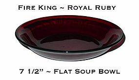 """Fire King Royal Ruby 7 5/8"""" Flat Soup Bowl"""