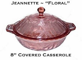 """Jeannette """"Floral"""" Poinsettia 8"""" Covered Casserole"""