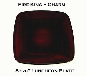 """Fire King Royal Ruby Charm 8 3/8"""" Luncheon Plate"""