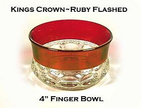 Tiffin U.S. Glass King's Crown Ruby Flashed Finger Bowl