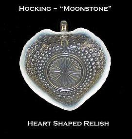 Hocking Moonstone Heart Shaped Relish Dish