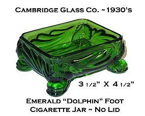 Cambridge Glass 1930's Emerald Dolphin Cigarette Jar