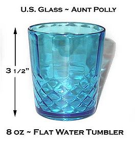 U.S. Glass ~ Aunt Polly Blue 8 oz Water Tumbler