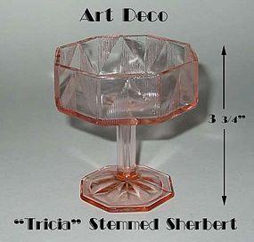 "Art Deco Tall Pink ""Tricia"" Stemmed Champagne/Sherbert"