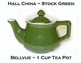 Hall China Stock Green 1 Cup Bellvue Tea Pot