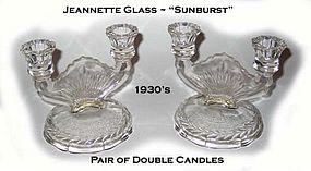 "Jeannette Glass ""Sunburst"" Pair of Double Candles"
