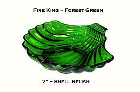 Fire King Forest Green 7 inch Shell Relish