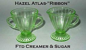 """Hazel Atlas """"Ribbon"""" Green Footed Cream & Sugar"""
