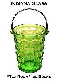 """Indiana """"Tea Room"""" Green Ice Bucket With Handle"""