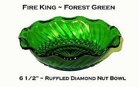"Fire King ~ Forest Green ~ 6 1/2"" Ruffled Diamond Bowl"