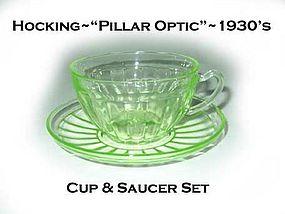 """Hocking """"Pillar Optic"""" Green Cup and Saucer"""