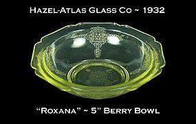 "Hazel-Atlas ~ ""Roxana"" Golden Topaz 5 inch Berry Bowl"