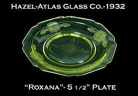 "Hazel-Atlas ~ ""Roxana"" Golden Topaz 5 1/2"" Plate"