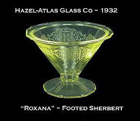 """Hazel-Atlas ~ """"Roxana"""" Golden Topaz Footed Sherbert"""