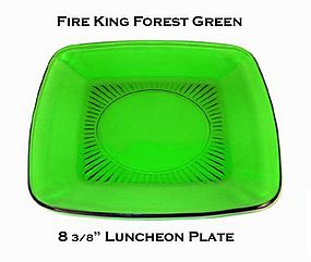 """Fire King Forest Green """"Charm"""" Luncheon Plate"""