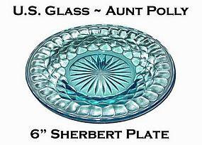 "U.S. Glass ~ Aunt Polly Blue 6"" Sherbert Plate"