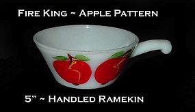 """Fire King """"Apple"""" 5 inch Handled Ramekin"""