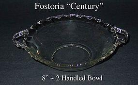 Fostoria Century 8 inch ~ 2 Handled Serving Bowl