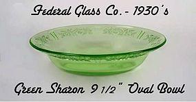 "Green Sharon 9 1/2"" Oval Vegetable Bowl-Federal"