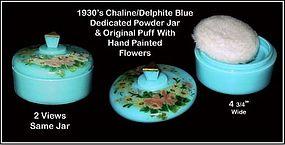Delphite Blue or Chalaine Blue Round Powder Jar & Cover