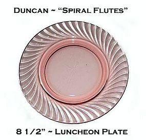 Duncan Miller Pink/Rose Spiral Flutes Luncheon Plate