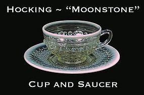 Hocking ~ Opalescent Moonstone Cup & Saucer Set