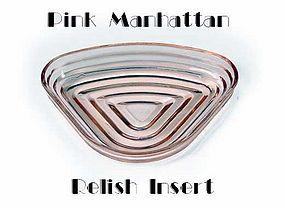 Hocking Manhattan Pink 1 Relish Insert ~ 1930s