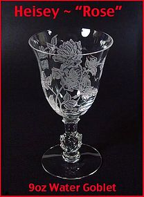 Heisey Rose 9 ounce Stemmed Water Goblet - Excellent!