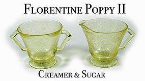 Hazel Atlas Florentine #2 - Yellow Cream and Sugar Set