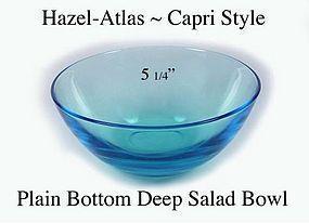 Hazel Atlas 1960s Capri Plain Bottom Deep Salad Bowl