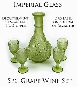 Imperial 5pc Grape Decantor Set with 4 Wines Org Label