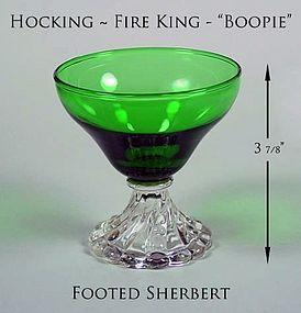 Hocking Fire King Green Boopie 3 7/8 inch Ftd Sherbert