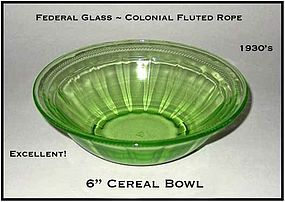 Federal Glass-Colonial Fluted Rope 6 inch Cereal Bowl