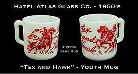 "Hazel Atlas White & Red ""Tex and Hawk"" Youth Mug"