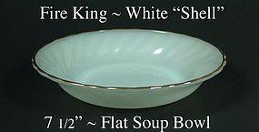 "Fire King White ""Shell"" 7 1/2 inch Flat Soup-Gold Trim"