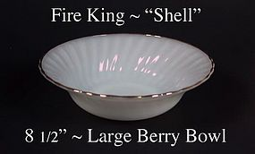 """Fire King White """"Shell"""" 8 1/2 inch Lg Berry-Gold Trim"""
